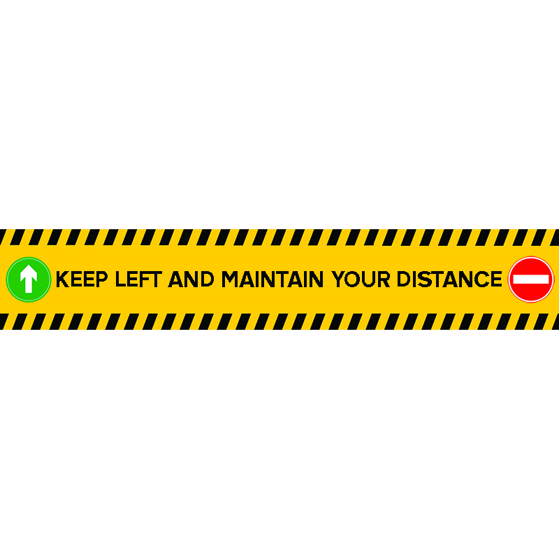 keep left and maintain distance stair sticker