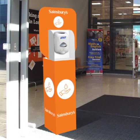 buy branded floor standing hand sanitiser unit